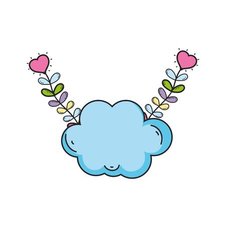 carino fiaba nuvole icona illustrazione vettoriale design