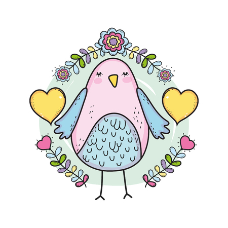 cute little bird with floral decoration lovely character vector illustration design