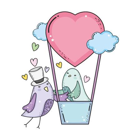 cute little birds couple flying in balloon air hot vector illustration design