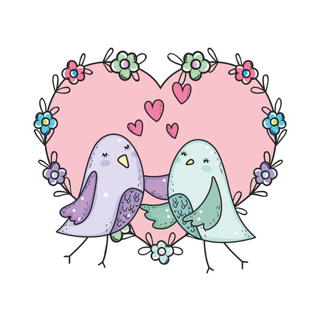 cute little birds couple with flowers lovely characters vector illustration design