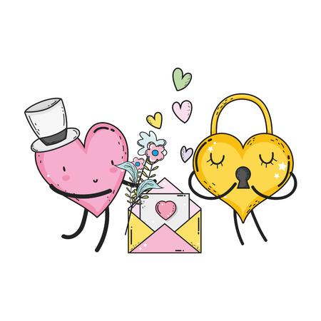cuori amore coppia personaggi kawaii illustrazione vettoriale design Vettoriali