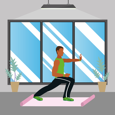 fit man doing exercise over mat in the gym cartoon vector illustration graphic design