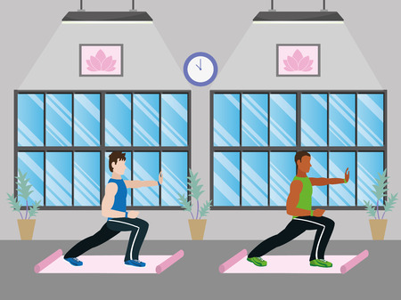 fit men doing exercise in the gym cartoon vector illustration graphic design