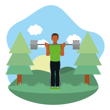 fit man doing exercise in the park cartoon vector illustration graphic design