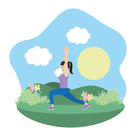 fit woman doing exercise in the park cartoon vector illustration graphic design