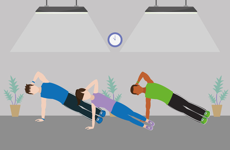 fit friends doing exercise in the gym cartoon vector illustration graphic design