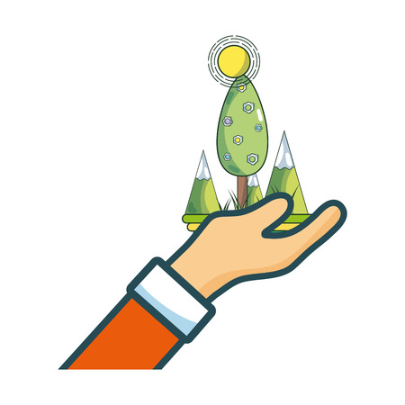 hand holding trees cartoon vector illustration graphic design Ilustração