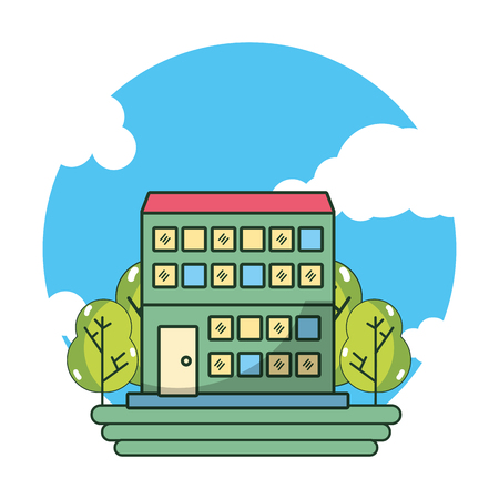 hotel building cartoon vector illustration graphic design