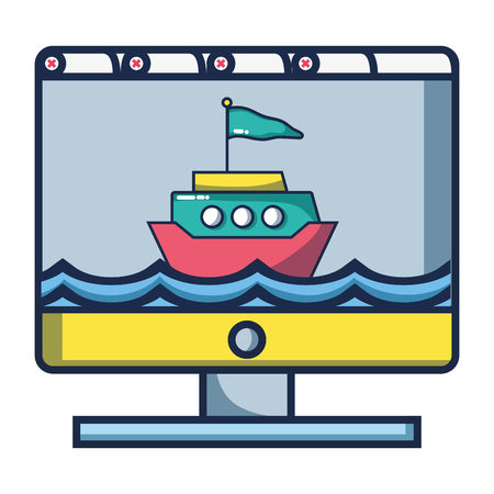 computer screen with ship travelling over sea cartoon vector illustration graphic design Çizim