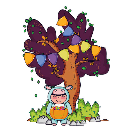 Halloween girl smiling with hippo custome and candies on nature with tree pennants vector illustration graphic design