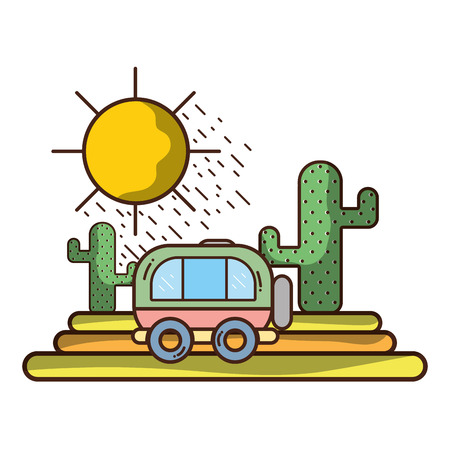Travel van passing by dessert with cactus vector illustration graphic design