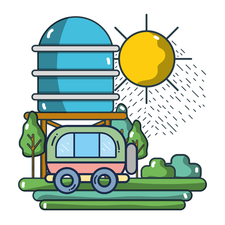 Vintage van passing by farm with water tank vector illustration graphic design