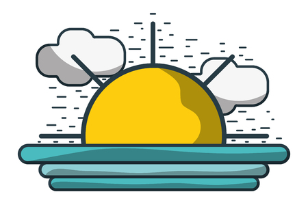 Sun over sea with clouds vector illustration graphic design