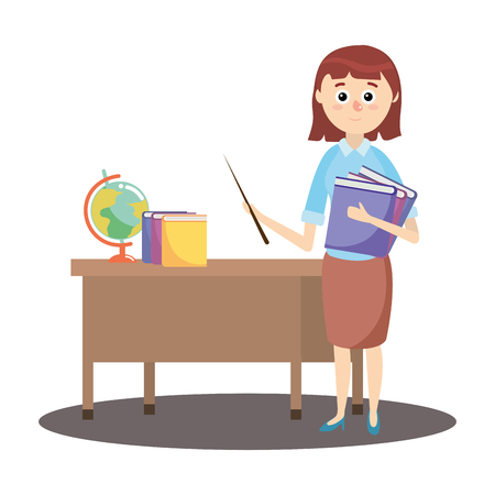 elementary school teacher cartoon vector illustration graphic design Vetores