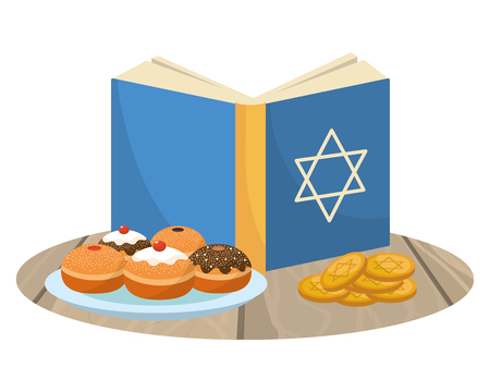 hanukkah party cartoon Vectores