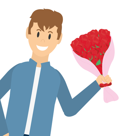 Young man with flowers bouquet romantic gift vector illustration graphic design
