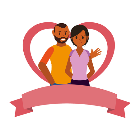 Couple woman and man smiling over heart shaped frame with ribbon banner vector illustration graphic design