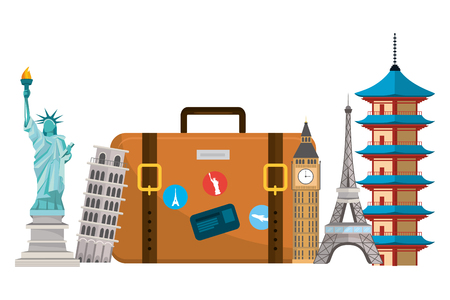travel luggage with straps and landmarks isolated white background cartoon vector illustration graphic design