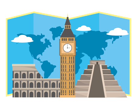 world landmarks icon Illustration