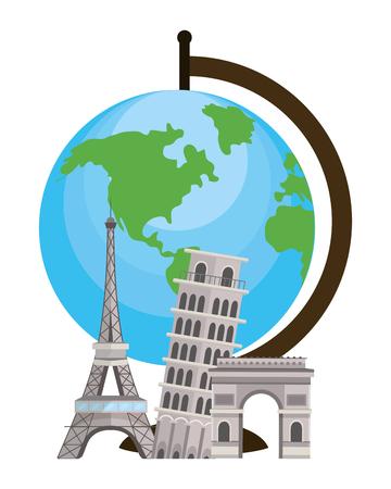 world globe with landmarks tourist destinations isolated white background cartoon vector illustration graphic design Ilustrace