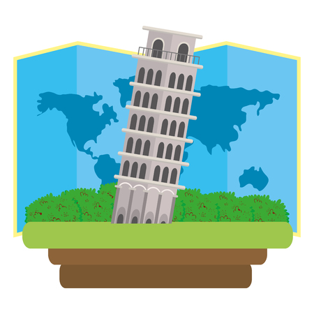 pisa leaning tower with world map isolated white background icon vector illustration graphic design