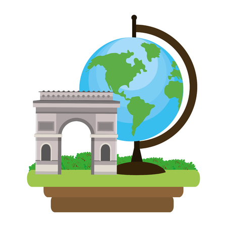 arc de triomphe with world map isolated white background icon vector illustration graphic design Illustration