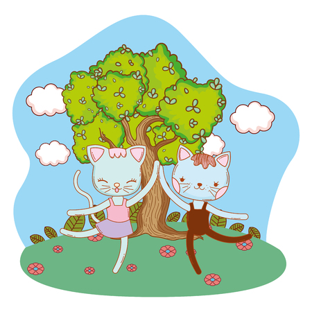 cute ballerina cats dancing ballet outdoors park scenery cartoon