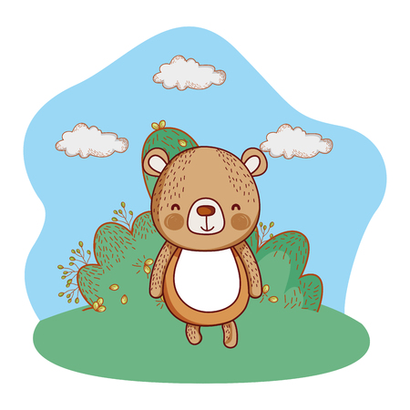 cute bear enjoying outdoors park scenery cartoon