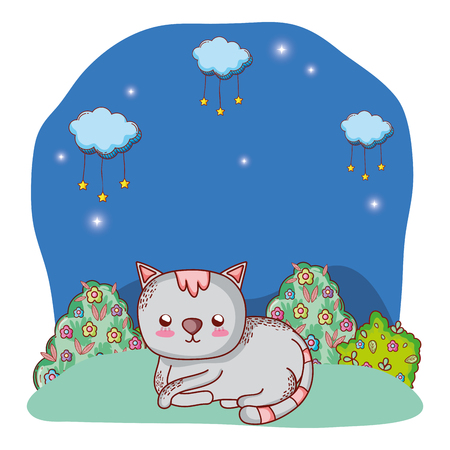 lindo gato disfrutando al aire libre parque noche paisaje dibujos animados