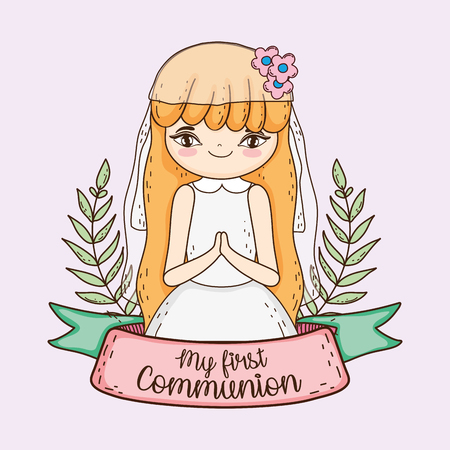 girl communion with branches leaves and ribbon Illustration