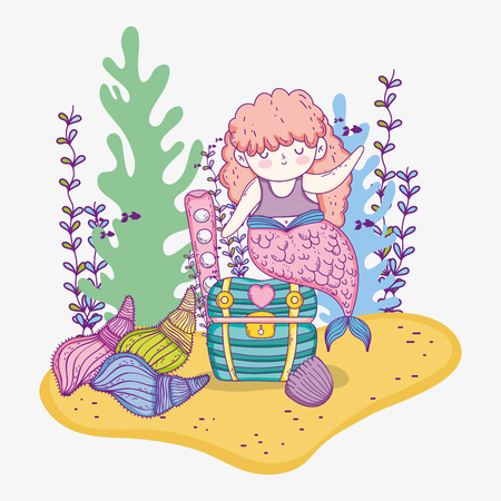 mermaid woman with shells and seaweed plants