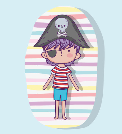 pirate boy wearing hat with skull and bones vector illustration