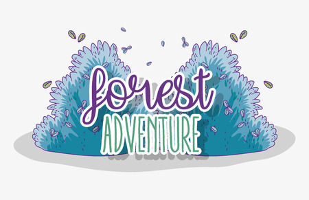 forest adventure with bushes plants and leaves vector illustration