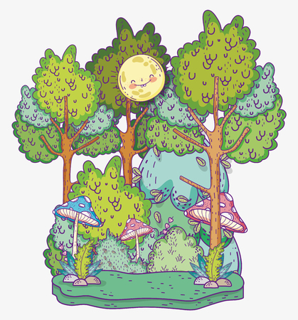 sun with natural trees and bushes plants vector illustration
