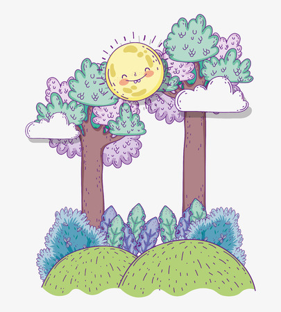 nature plants leaves with trees and sun vector illustration Stock Illustratie