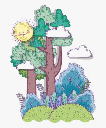 natural trees with plants leaves and sun vector illustration