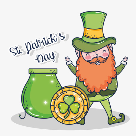 st patrick man with cauldron and gold coin
