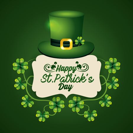 label with st patrick hat and clovers to celebration vector illustration