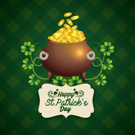 st patrick label and cauldron with coins and clovers vector illustration