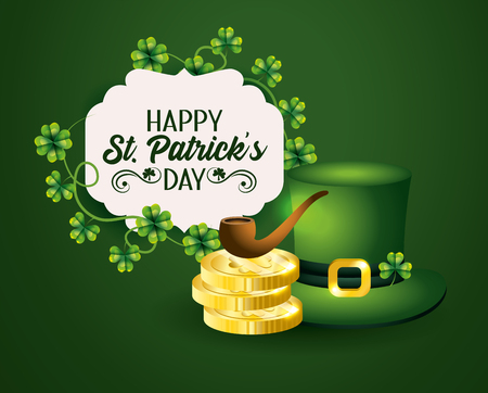 st patrick label with hat and gold coins with pipe vector illustration