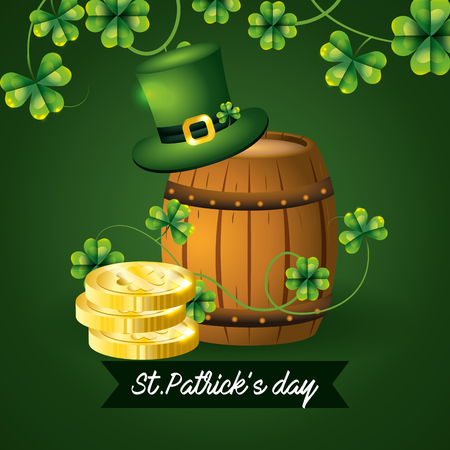 gold coins with barrel and hat to st patrick event