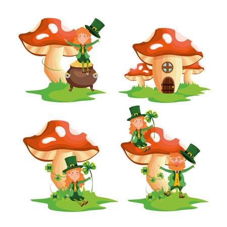 set st patrick woman and man with fungus house vector illustration