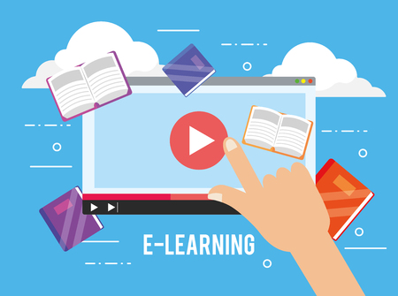 digital website video and education books vector illustration