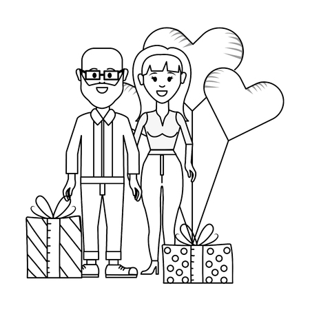 young people couple at valentines day between gifts and balloons cartoon vector illustration graphic design  イラスト・ベクター素材
