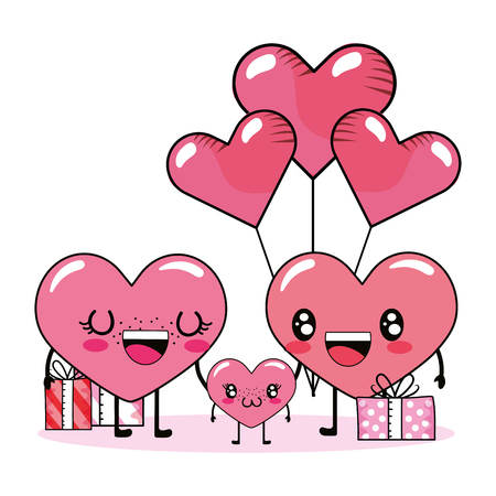love heart couple with son at valentines day between gifts and balloons cartoon vector illustration graphic design