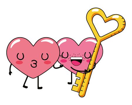 love heart couple and key cartoon vector illustration graphic design  イラスト・ベクター素材