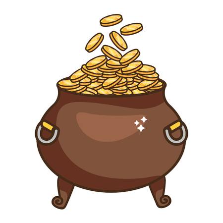 golden coins pot cartoon vector illustration graphic design