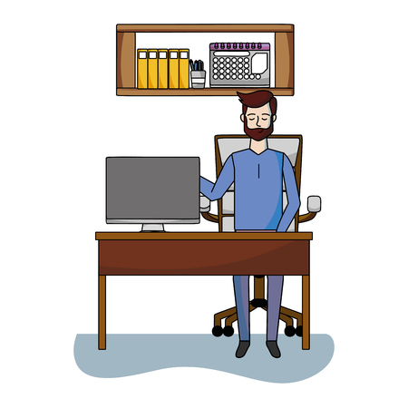 businessman at office working with computer cartoon vector illustration graphic design