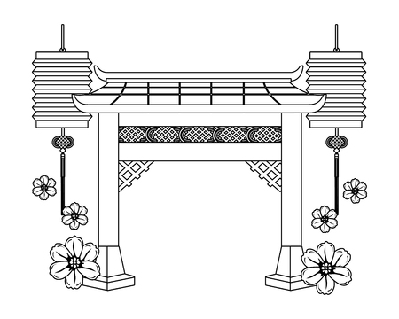 chinese gate cartoon vector illustration graphic design