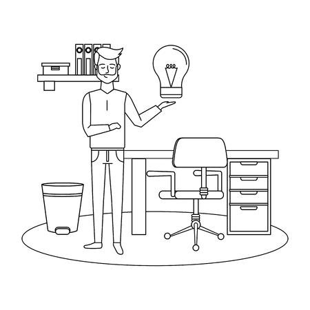 businessman at office with lightbulb idea cartoon vector illustration graphic design
